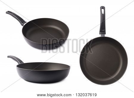 Black metal frying pan with a handle, isolated over the white background, set of three different foreshortenings