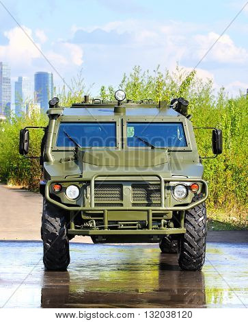 MOSCOW - MAI 9: Military passenger crossover of green color   -  on Mai 9, 2015 in Moscow