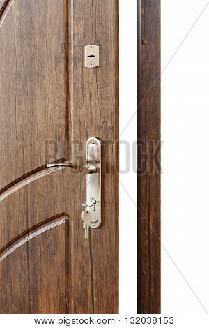 Open door handle. Door lock with keys. Brown wooden door closeup isolated. Modern interior design, door handle. New house concept. Real estate. Vertical image