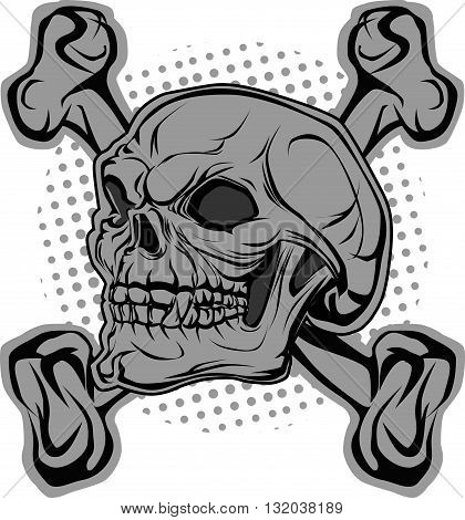 Angry skull and bones in background halftone