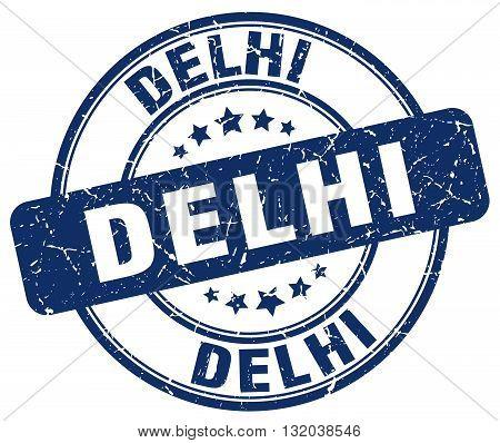 Delhi blue grunge round vintage rubber stamp.Delhi stamp.Delhi round stamp.Delhi grunge stamp.Delhi.Delhi vintage stamp.