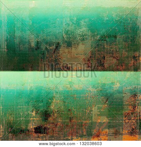 Colorful grunge texture or background with vintage style elements and different color patterns: yellow (beige); brown; green; blue; red (orange); cyan