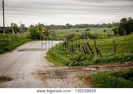 dramatic country road St-Alban Quebec Canada landscape