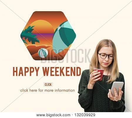 Woman Weekend Lifestyle Technology Concept