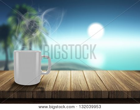3D render of a steaming hot drink on a wooden decking looking out to a tropical landscape