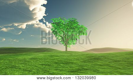 3D render of a tree landscape with a storm cloud approaching