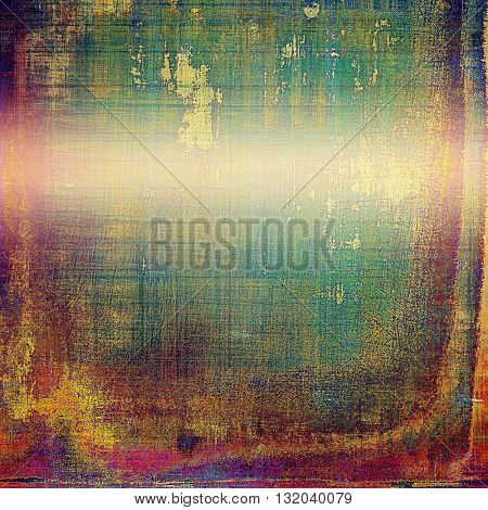 Tinted vintage texture, aged decorative grunge background with traditional antique elements and different color patterns: yellow (beige); green; blue; red (orange); purple (violet); pink