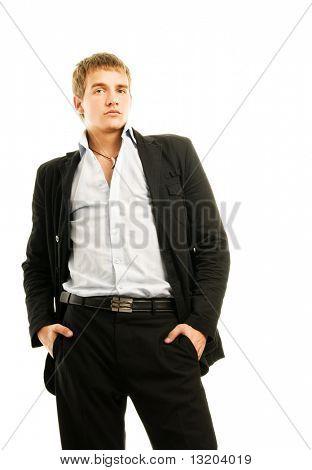 Schöner junger Mann, isolated on white background