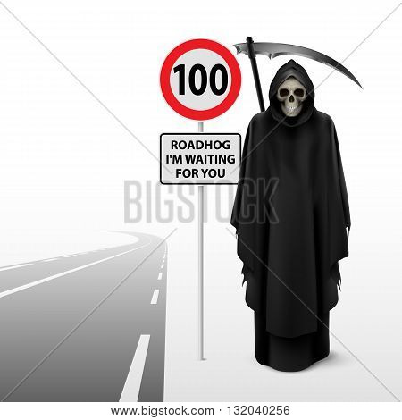 Scytheman beside the road with a traffic sign 100