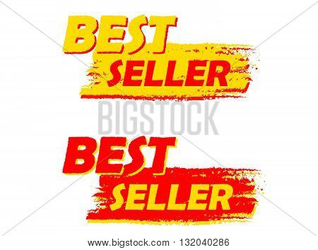 best seller banners - text in yellow and red drawn labels, business shopping concept, vector