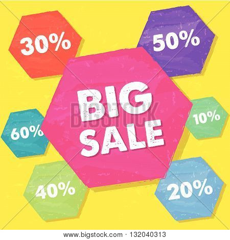 big sale and percentages in hexagons over yellow background, grunge flat design, business shopping concept, vector