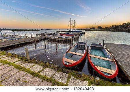 Rental Rowing Boats In A Marina At Dutch Lake