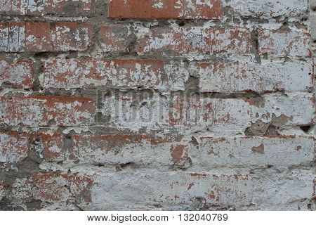 Background of old dirty brick wall with peeling paint, texture