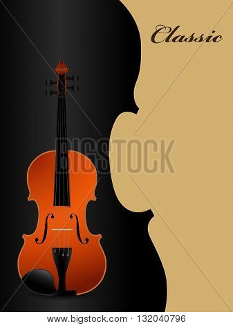 Classical acoustic violin on black background. Music instrument. Vector illustration.