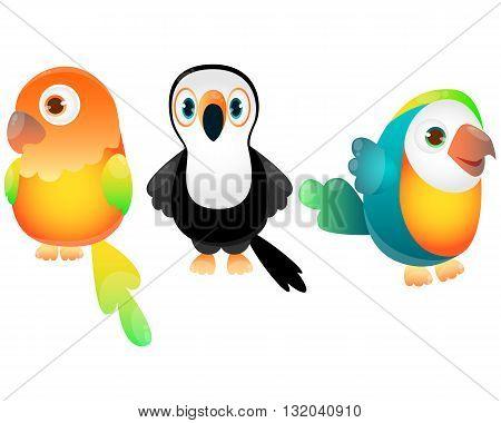 Set of exotic birds. Game Design. Vector illustration