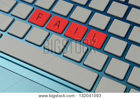 Fail an online test concept with keyboard