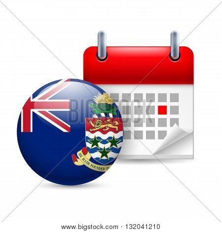 Calendar and round flag icon. National holiday on Cayman Islands
