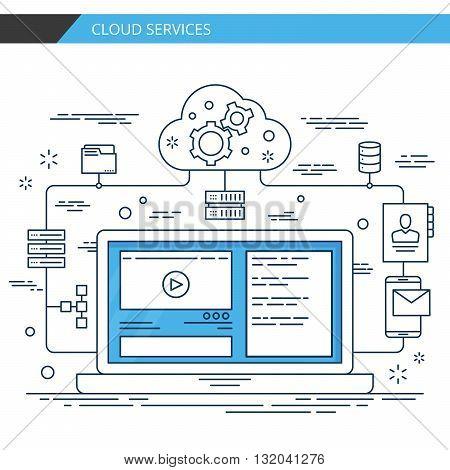 Modern thin line design cloud services. Premium quality vector