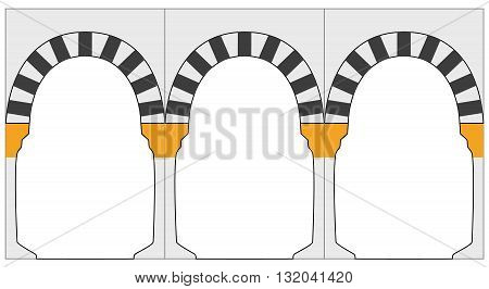 Medina arc. Black and white ornament eastern style arc. Graphic illustration of arc. Arcs of Al haram mosque in Madinah Saudi Arabia. Vector. Isolated illustration