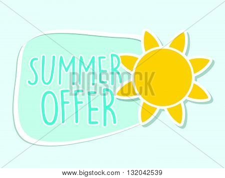 summer offer with yellow sun sign, blue flat design label, business seasonal shopping concept, vector