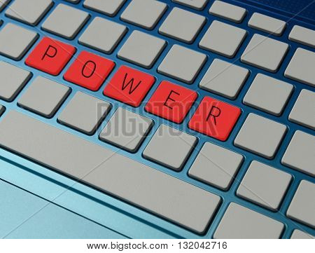 Power and influence in business concept on computer