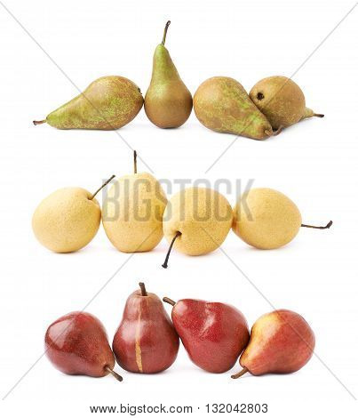 Four pears composition isolated over the white background, set of three images, green, red and yellow pears