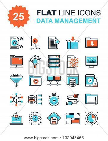 Abstract vector collection of flat line data management icons. Elements for mobile and web applications.