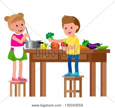 Cute vector character child and healthy food. Child girl and boy with vegetables, cooking. Happy kid illustration. Detailed character child. Vector fun child.