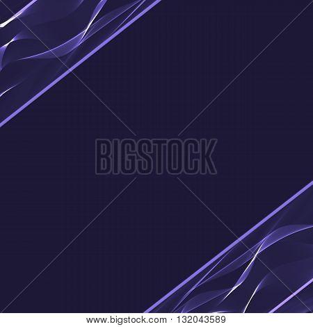 Blue wavy shiny ribbon on a dark background