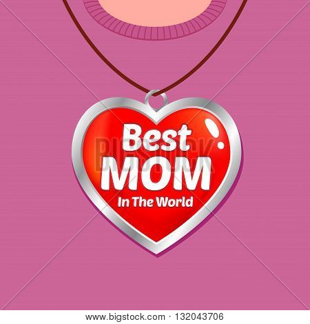 Vector stock of Mothers day greetings with heart shaped medallion
