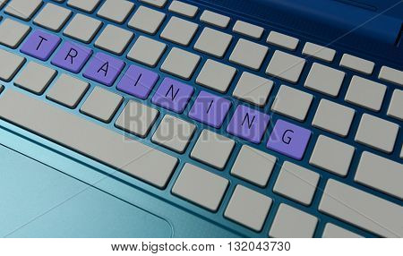 online computer training concept with nobody in purple
