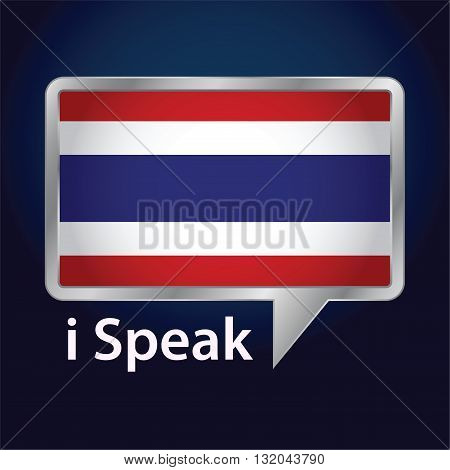 Vector stock of Thailand flag inside speech bubble Speaking Thai language