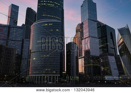 Moscow, Russia - May, 29, 2016: Veiw of Moscow City skyscrapes at a sunset