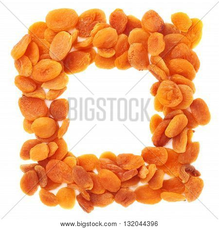 Square shape made of dried orange apricots over isolated white background, top view