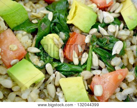 close of up vegan healthy lentil and whole grain brown rice salad with veggies