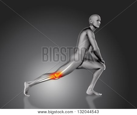 3D medical male figure in stretching pose with knee bone highlighted
