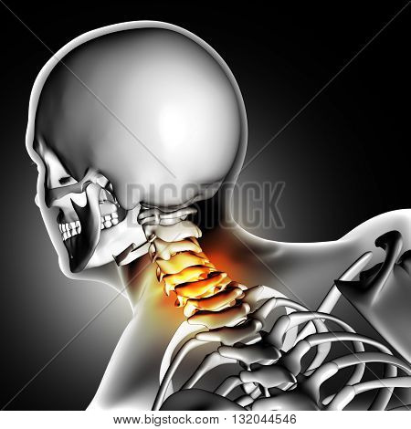 3D render of a medical image of close up of bones in the neck