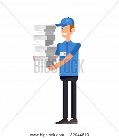 Vector detailed character office worker, business office worker in action. Business people, business men lifestyle. Character men office worker. Office worker isolated on white background