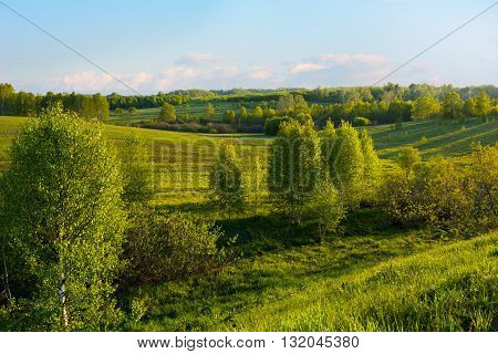 Beautiful hills landscape. Rolling hills and sky.