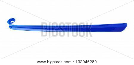 Blue long shoehorn isolated over the white background