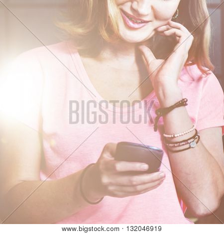 Girl Using Mobile Concept