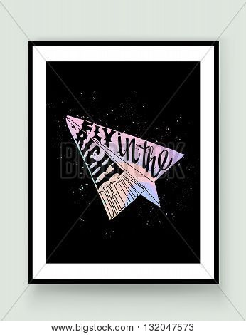 Motivational travel holographic trendy 80s retro poster with paper plane in frame. Holographic travel label with grunge texture. Hologram effect. Fly in the right direction