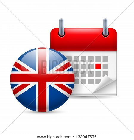 Calendar and round British flag icon. National holiday in Great Britain