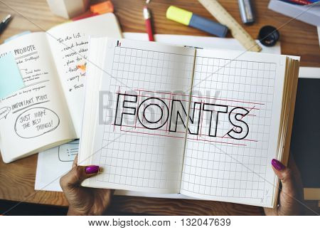 Fonts Creative Drawing Outline Graphic Concept
