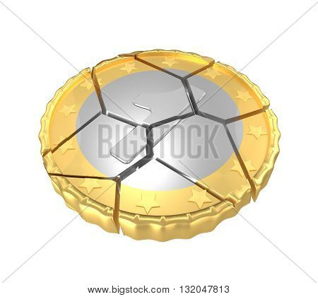 Isolated Cracked One Coin Concept 3d Render
