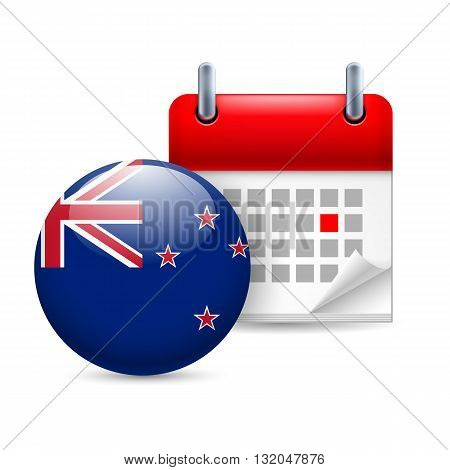 Calendar and round flag icon. National holiday in New Zealand