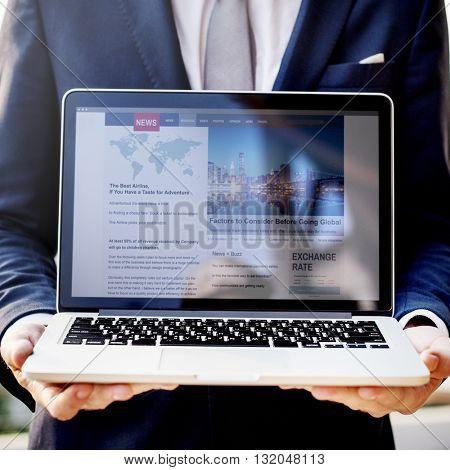 Business Man Holding Laptop News Concept