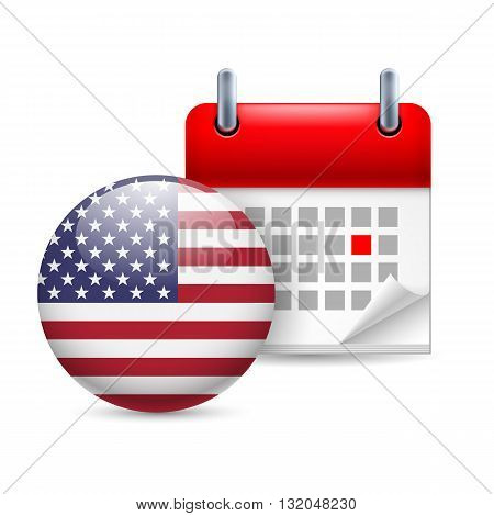 Calendar and round American flag icon. National holiday in USA
