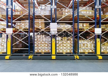 High Density Storage Shelving System in Warehouse
