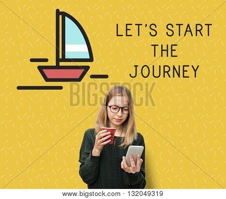 Girl Plan Travel Journey Concept